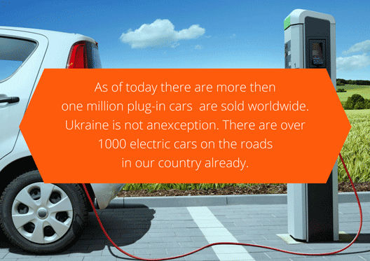 More then 1000 000 cars worldwide have electric motors. Ukraine is not an exception - already today more than 1 000 EV are driving over the roads of our country.